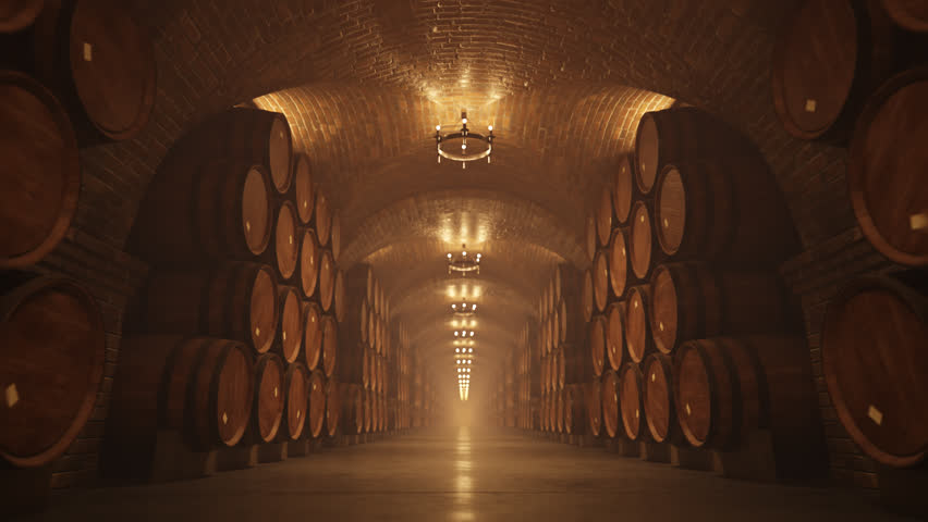 02644 Symmetry Of Oak Barrel In Wine Cellar With Lights