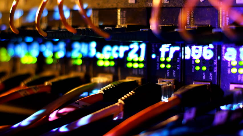 Fully loaded network media converters and ethernet switches.    Shutterstock HD Video #2465504