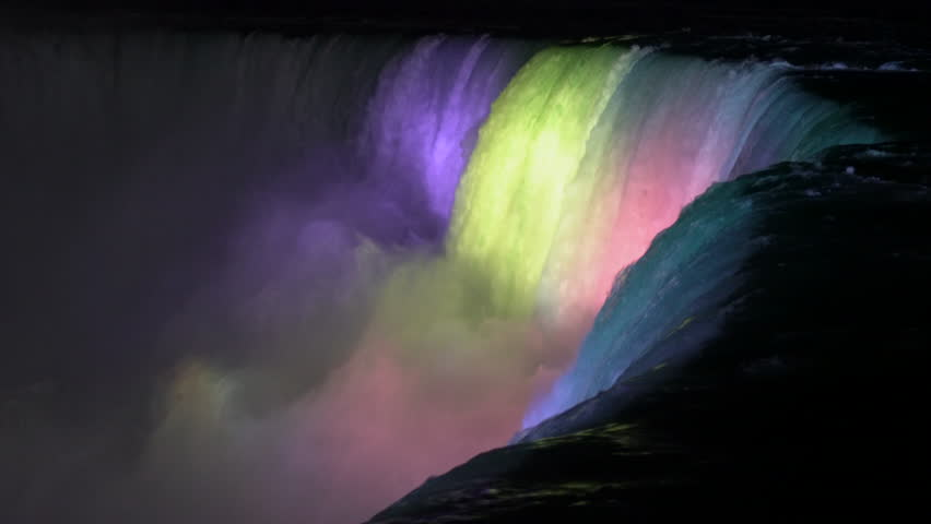 Niagara Falls at night with colored lights