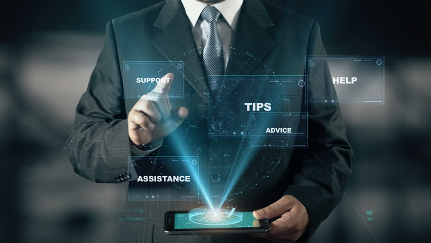 Businessman with Solution hologram concept choose Tips from words | Shutterstock HD Video #24657497