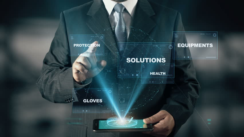 Businessman with Work Safety hologram concept choose Solutions from words | Shutterstock HD Video #24658556
