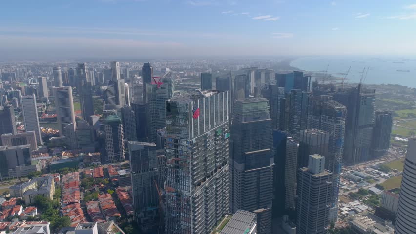 Singapore in the xlouds Downtown view Aerial | Shutterstock HD Video #24659921