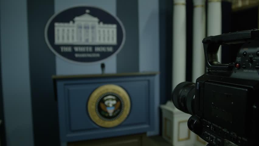 Press Secretary of White House - podium and camera