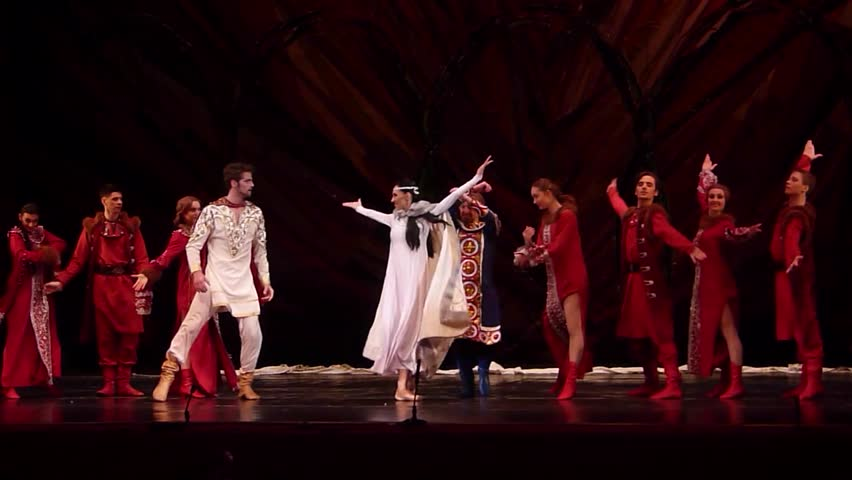 DNIPRO, UKRAINE - FEBRUARY 24, 2017: Ukrainian historical ballet Princess Olga performed by members of the Dnipro Opera and Ballet Theatre. | Shutterstock HD Video #24679172
