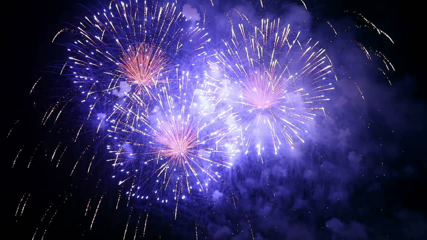Collage of colorful fireworks exploding in the night sky | Shutterstock HD Video #2468579