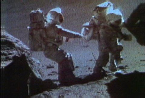 Apollo 17 - Schmitt and Cernan collecting samples from lunar surface