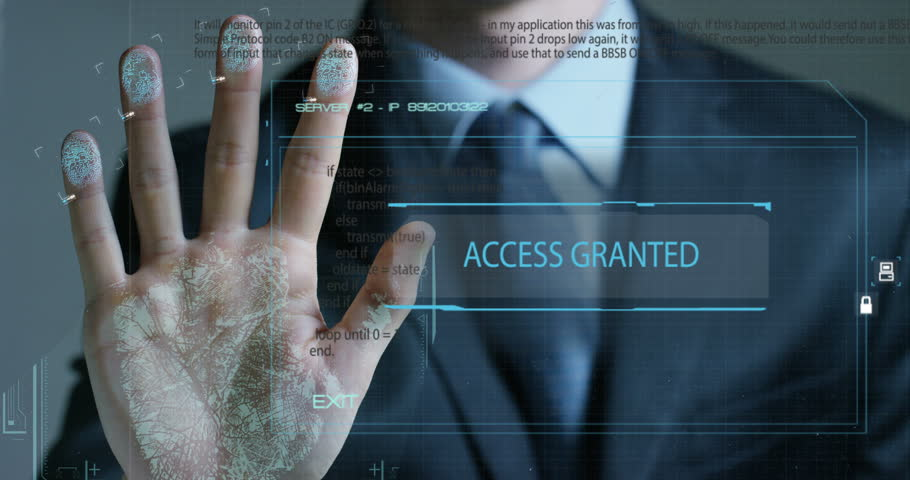 Businessman scan fingerprint biometric identity and approval. concept of the future of security and password control through fingerprints in an immersive technology future and cybernetic, business | Shutterstock HD Video #24689093