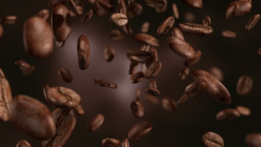 High quality animation video of falling coffee beans-loopable background in slow motion in 4K | Shutterstock HD Video #24691892