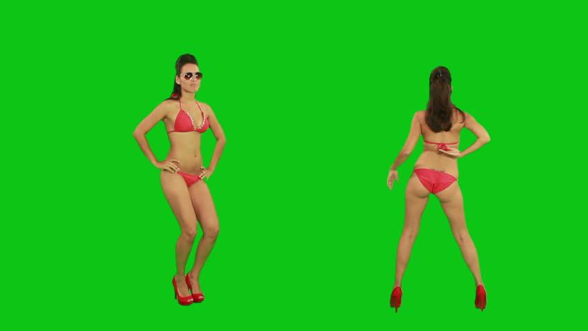 Beautiful young girl dancing against green screen  | Shutterstock HD Video #2469725