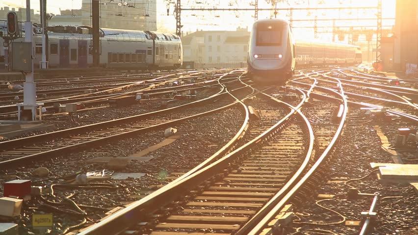 LYON, FRANCE - February 19, 2016: French highspeed TGV train arriving at Perrache station, Gare de Lyon-Perrache, in France. | Shutterstock HD Video #24708668