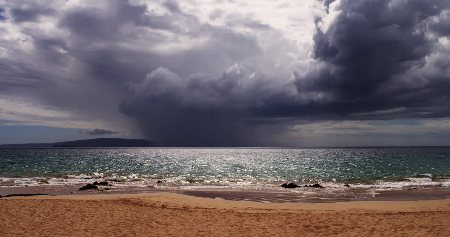 Dramatic Storm Above Ocean From Shore of Makena Beach in Maui Hawaii