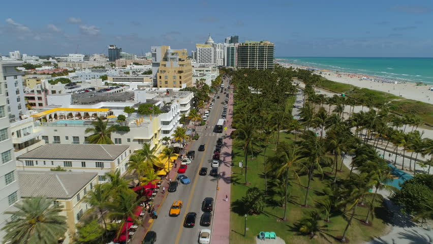 MIAMI BEACH, USA - MARCH 8, 2017: Aerial drone footage of Ocean Drive Miami Beach a popular world famous tourist travel destination.