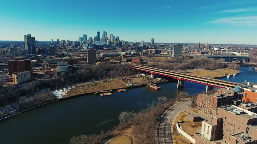 Aerial view of the Minneapolis Minnesota skyline and Mississippi River 4 | Shutterstock HD Video #24722987