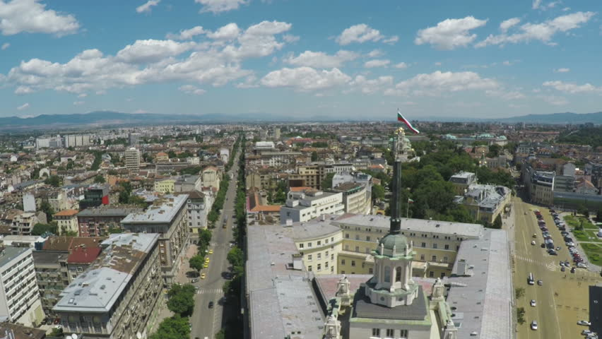 Aerial view of capital of Bulgaria, Sofia. Three architectural and iconic buildings of the communist era. Council of Ministers, presidency and party home.