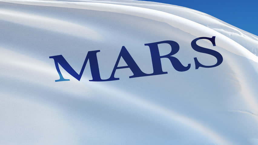 Mars Inc. flag waving in slow motion against blue sky, editorial animation, seamlessly looped, close up, isolated on alpha channel with black and white matte. | Shutterstock HD Video #24747212