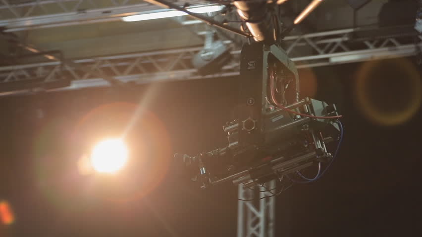 The camera on the crane moves in the pavilion during shooting   Shutterstock HD Video #24747893