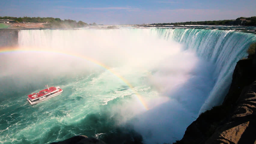 Boat Full of Tourists Gets Sprayed by Horseshoe Waterfall Under Rainbow in Niagara Falls Ontario Canada | Shutterstock HD Video #24774230