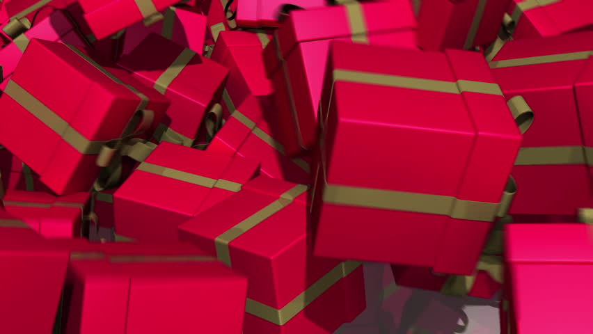 Gift boxes fall to floor and obscure camera view.