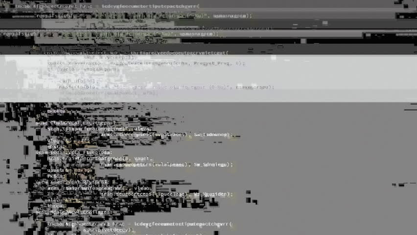 A messy source code scrolling animation, white characters black background, badly damaged by glitches. A glitch is a minor malfunction, mishap, or technical problem. It can have an artistic value.  | Shutterstock HD Video #24787274