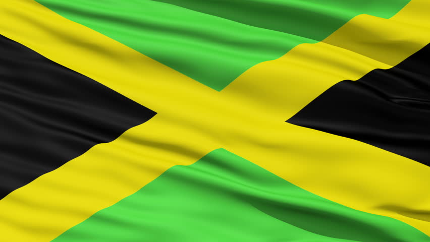 Closeup cropped view of a fluttering national flag of Jamaica