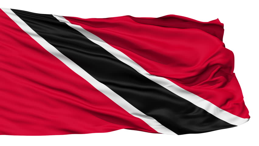 Animation of the full fluttering national flag of Trinidad and Tobago isolated on white