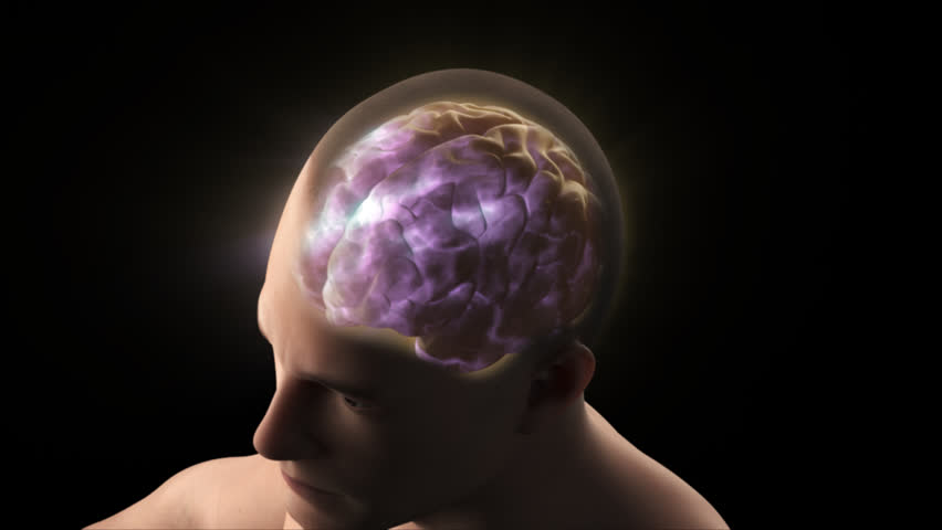 Human man transparent head skull shows brain cerebral neural activity electrical signal transmission waves in purple glow light black background top view male 3D anatomical model visualization