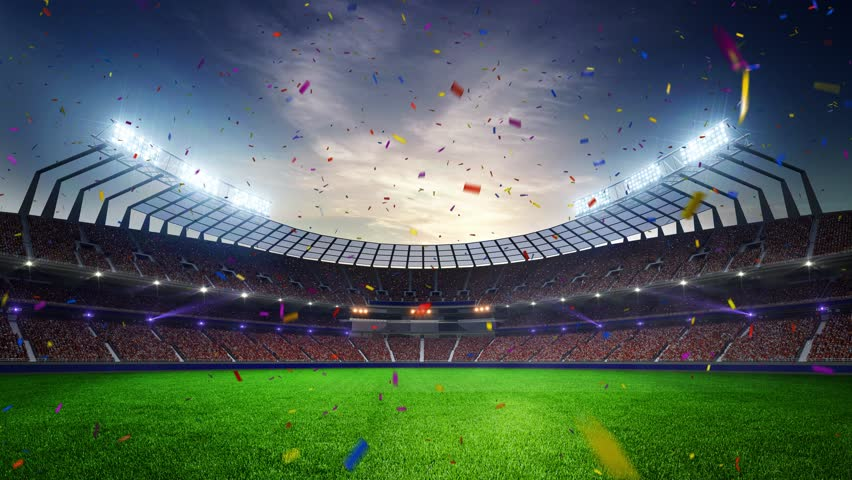 Stadium Moving lights, animated flash  with people fans. 3d render illustration cloudy sunset Confetti and tinsel