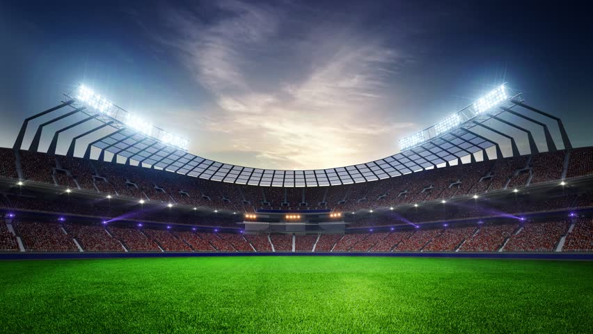 Stadium Moving lights, animated flash  with people fans. 3d render illustration cloudy sunset