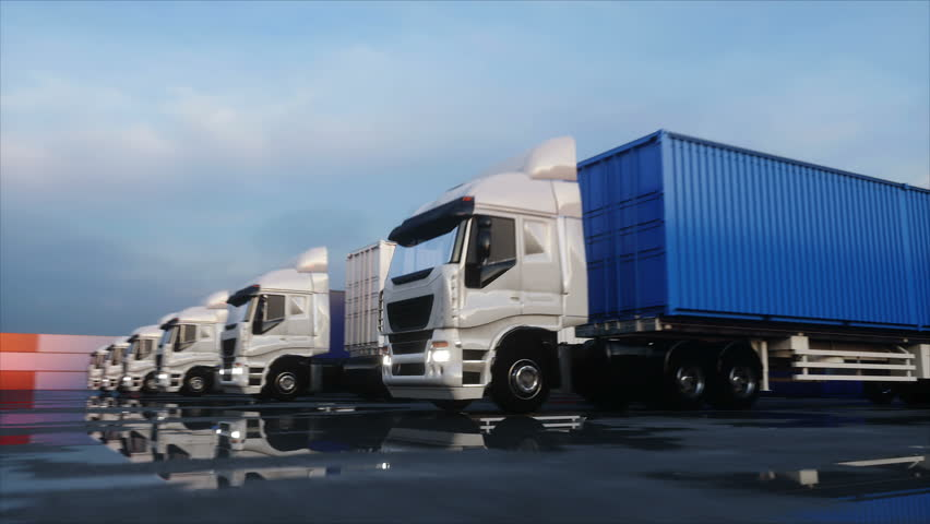 Truck in container depot, wharehouse, seaport. Cargo containers. Logistic and business concept. Realistic 4k animation.