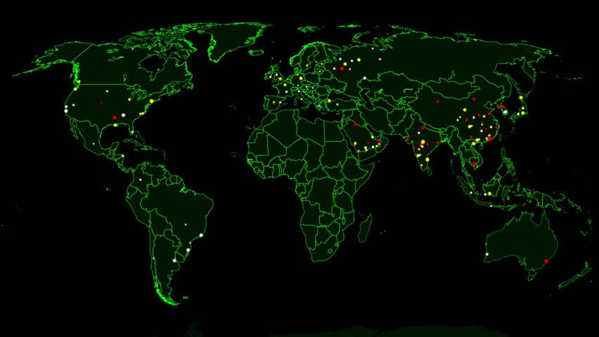 Hacker War Super Modern Digital Data Hacking World Map Simulation 4K UHD 2D Animation