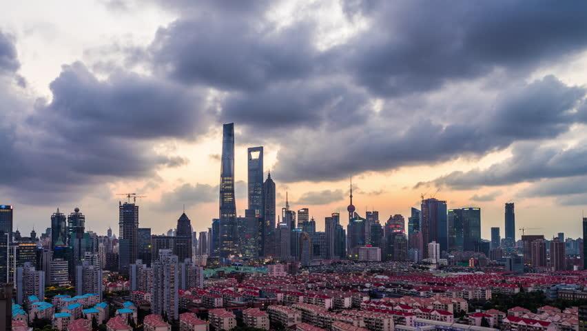 Modern buildings in midtown of shanghai.time lapse    Shutterstock HD Video #24897410