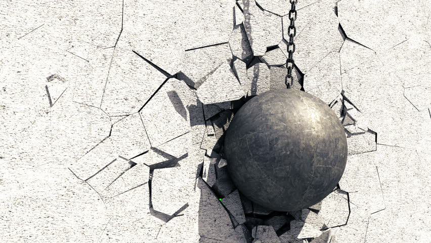 Metallic Wrecking Ball Shattering The Concrete Wall. Green Screen. 3D Animation.