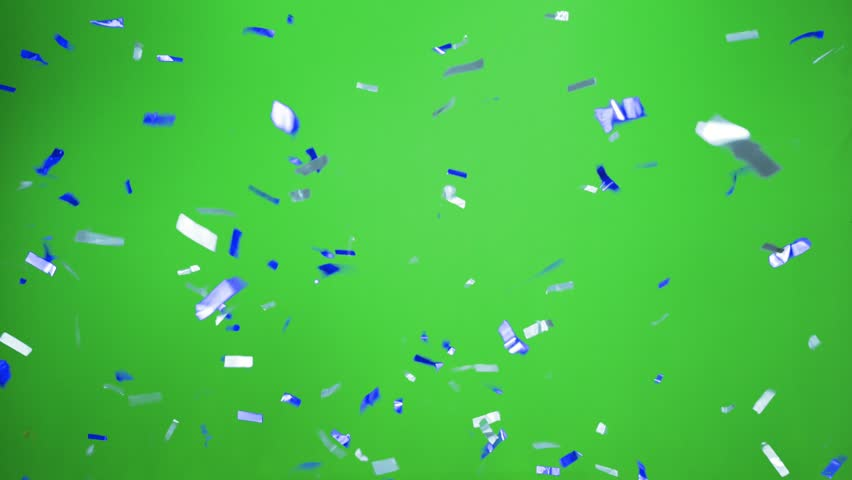 Real Confetti falling  soft and beautiful in the colors light blue and blue with  Green screen for party and celebrations | Shutterstock HD Video #24915929