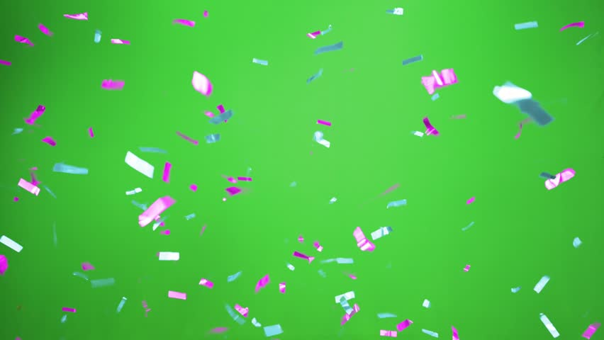 Real Confetti falling  soft and beautiful in the colors light blue and magenta with  Green screen for party and celebrations | Shutterstock HD Video #24915950