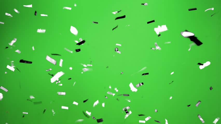 Real Confetti falling  soft and beautiful in the colors black and white with  Green screen for party and celebrations | Shutterstock HD Video #24916385