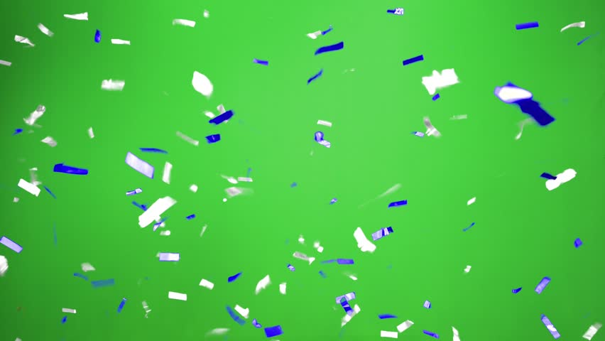Real Confetti falling  soft and beautiful in the colors blue and white with  Green screen for party and celebrations | Shutterstock HD Video #24916646