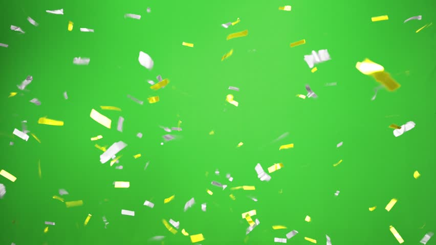 Real Confetti falling  soft and beautiful in the colors yellow and silver with  Green screen for party and celebrations | Shutterstock HD Video #24916754