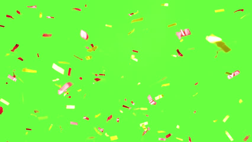 Real Confetti falling  soft and beautiful in the colors blue and pink with  Green screen for party and celebrations #24916763