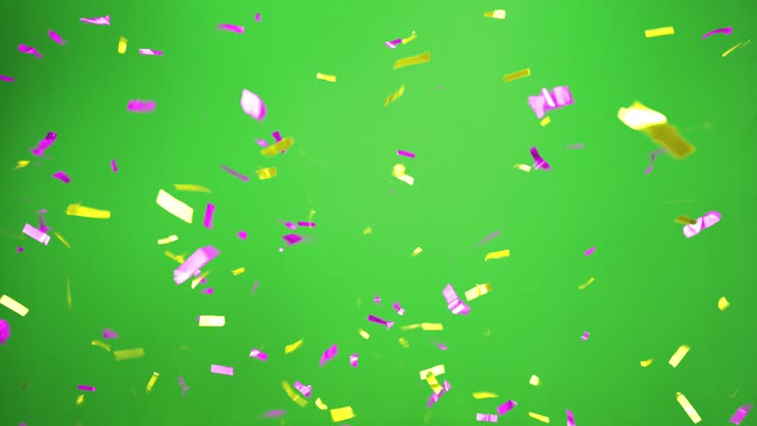 Real Confetti falling  soft and beautiful in the colors yellow and magenta  with  Green screen for party and celebrations | Shutterstock HD Video #24916769
