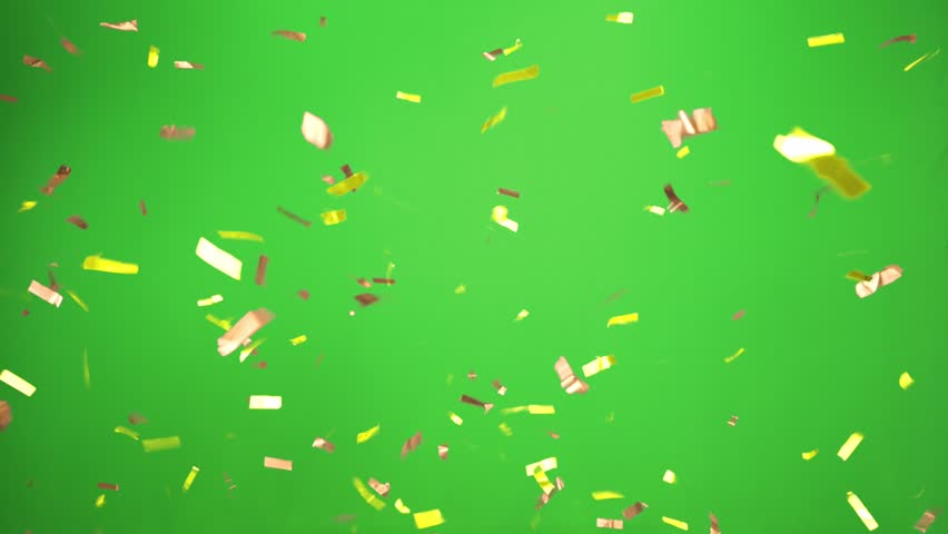 Real Confetti falling  soft and beautiful in the colors yellow and gold with  Green screen for party and celebrations | Shutterstock HD Video #24916781