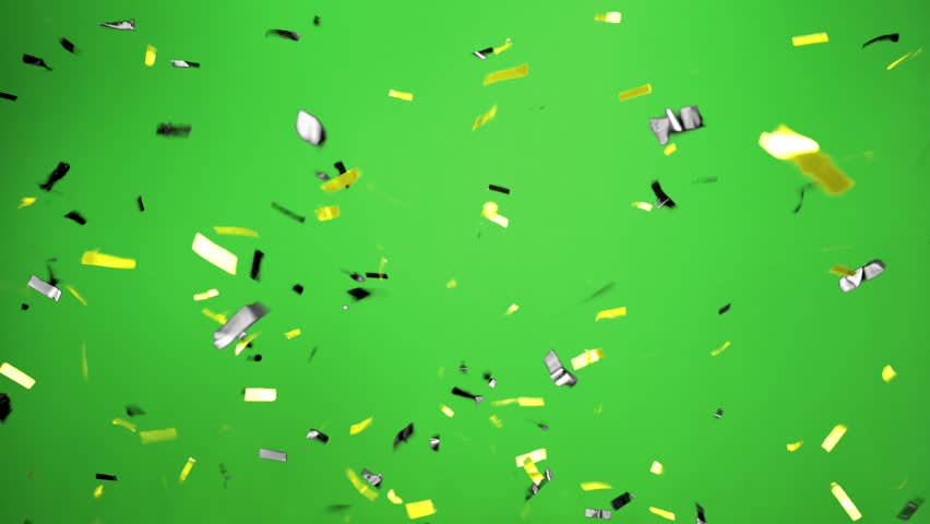 Real Confetti falling  soft and beautiful in the colors yellow and black with  Green screen for party and celebrations | Shutterstock HD Video #24916787