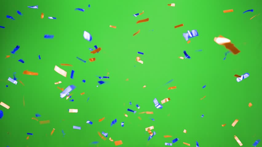 Real Confetti falling  soft and beautiful in the colors blue and orange with  Green screen for party and celebrations | Shutterstock HD Video #24916913