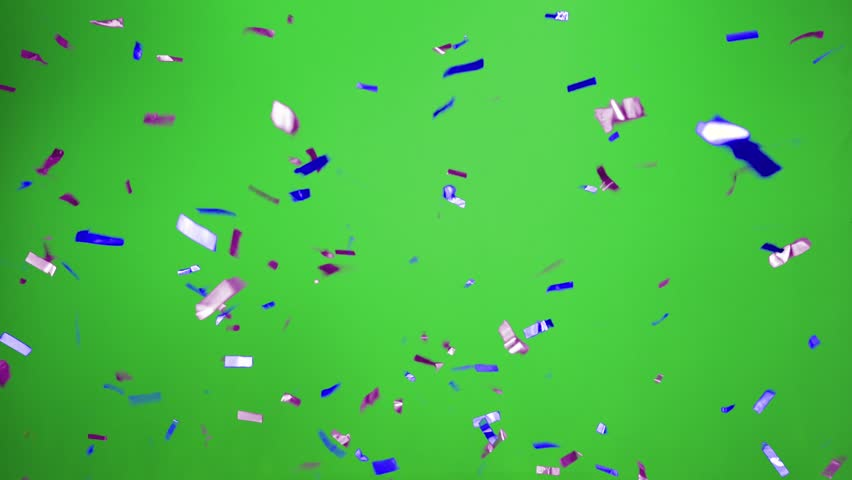 Real Confetti falling  soft and beautiful in the colors blue and purple with  Green screen for party and celebrations | Shutterstock HD Video #24916922