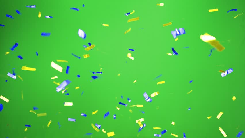 Real Confetti falling  soft and beautiful in the colors blue and yellow with  Green screen for sweden party and celebrations | Shutterstock HD Video #24916928