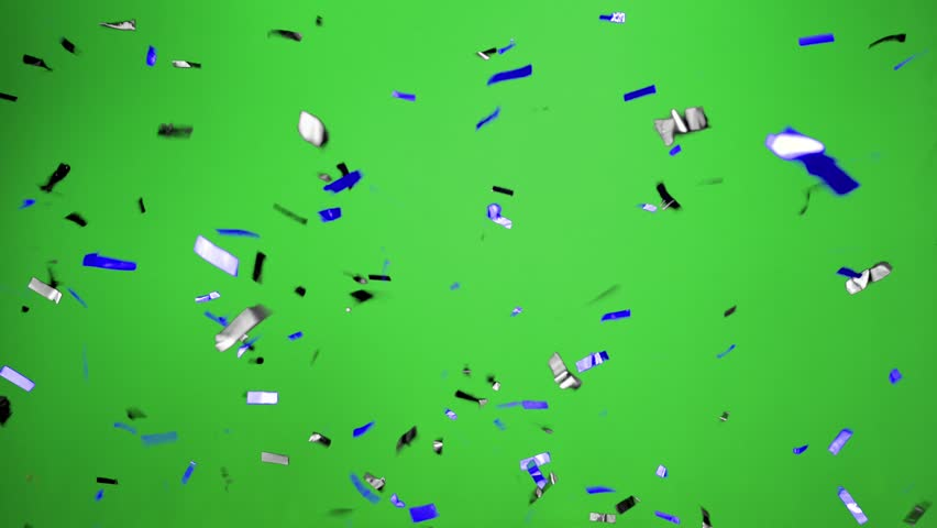 Real Confetti falling  soft and beautiful in the colors blue and black with  Green screen for party and celebrations | Shutterstock HD Video #24916937