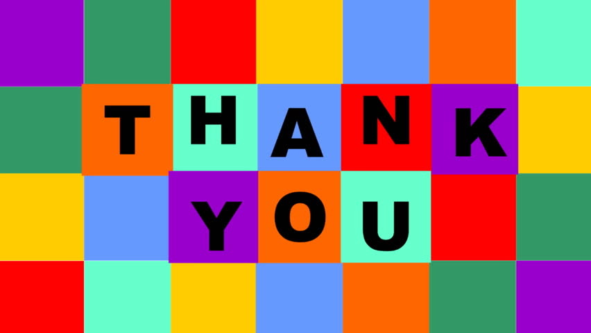 Thank you video composed of animated colorful squares with letters