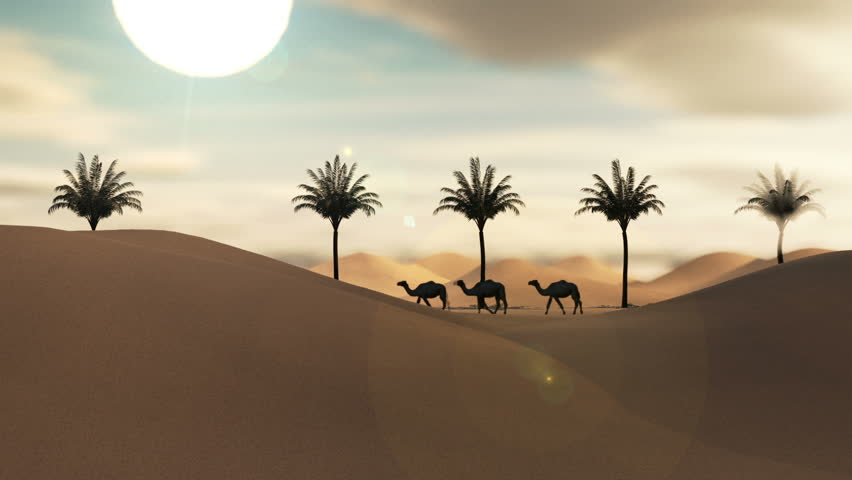 Twenty four hours loop animation in the Arabian desert Sahara with camels moving palm trees moon and sun showing and fading with color change 3d rendering