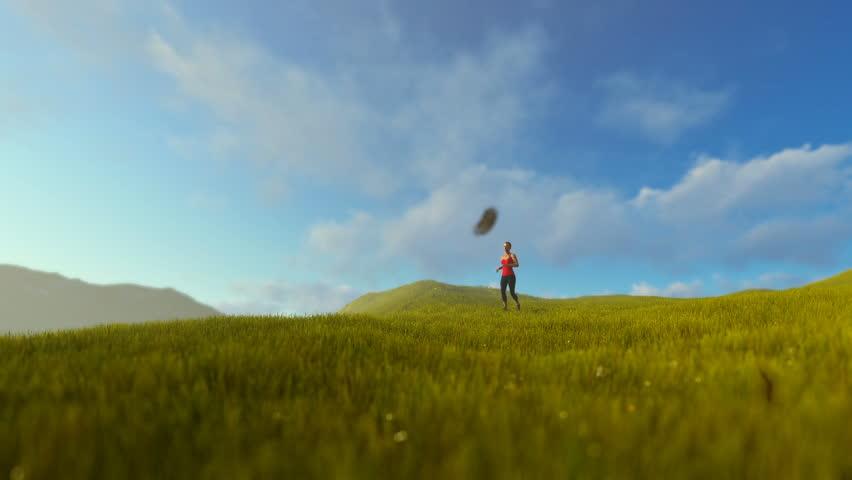 Woman running on green meadow panning, morning   Shutterstock HD Video #24938201