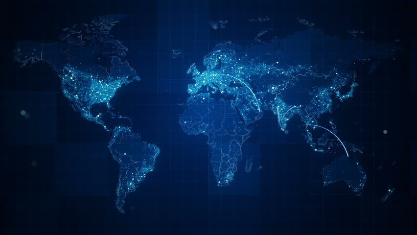 Connection Blue World Map Loop. This animated World map with visual effects and flying glowing connections in different places on the map.Perfect for slideshows, presentation, trailers and etc. | Shutterstock HD Video #24964691
