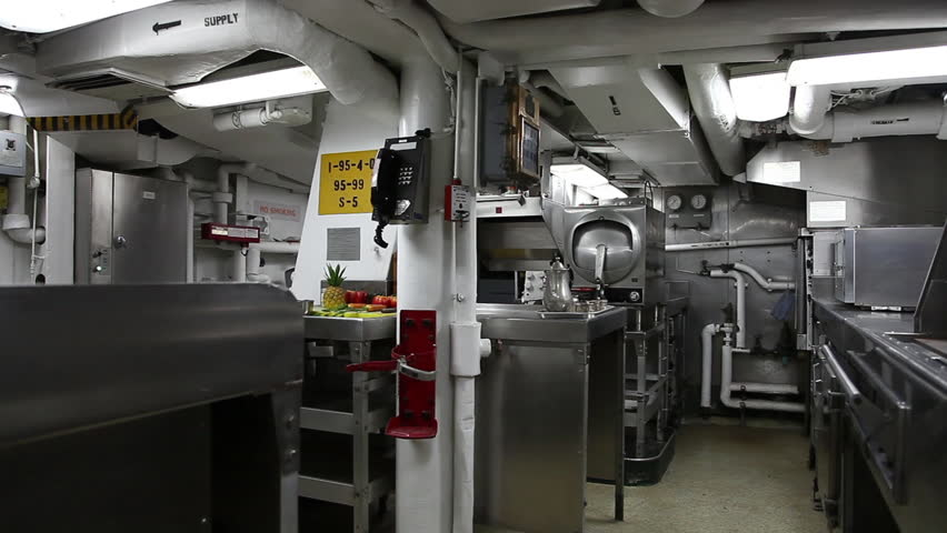 HONOLULU, OAHU, HAWAII, USA - AUGUST 21, 2016: kitchen room with ovens and cauldrons of Battleship Missouri at Pearl Harbor. National Historic Landmark, base of marine of the United States in Pacific. | Shutterstock HD Video #24998261